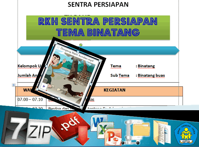 Download RKH Sentra Persiapan Tema Binatang