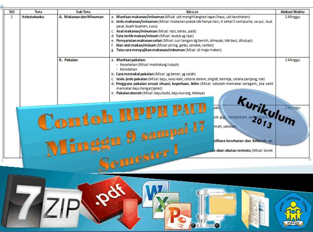 Contoh RPPH PAUD K-13 Semester 1 Minggu ke 9 sampai 17 Lengkap